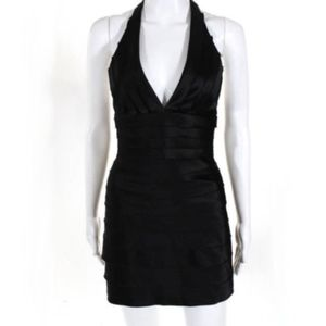 BCBG MaxAzria Malin Black Satin Tiered Mini Dress